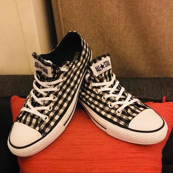 Black White Gingham Checkered Converse